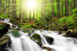 Leinwandbild Motiv Waterfall in  National park Sumava Czech Republic