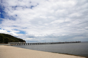 wooden pier in baltic sea - Orlowo, Gdynia, Poland