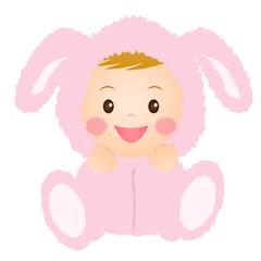 ウサギの着ぐるみを着た赤ちゃん