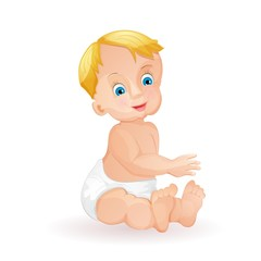 Baby boy isolated on white