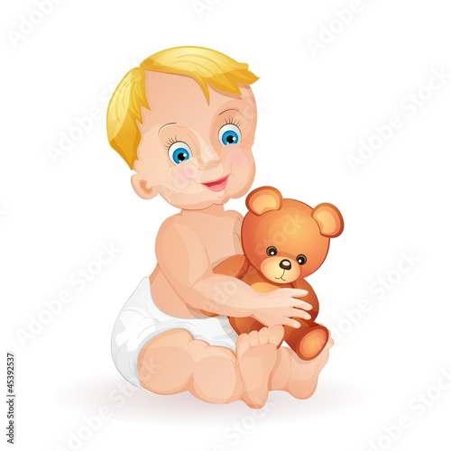 Baby boy holding cute teddy bear isolated on white