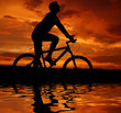 silhouette cyclist in the sunset