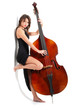 Woman in black dress play double bass