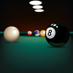 game illustration with billiard balls on green cloth