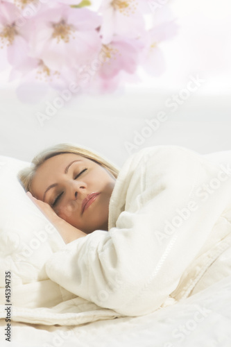 portrait of young sleeping blond woman