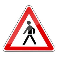 Warnschild RAL 3001 signalrot freigestellt - Fußgängerüberweg