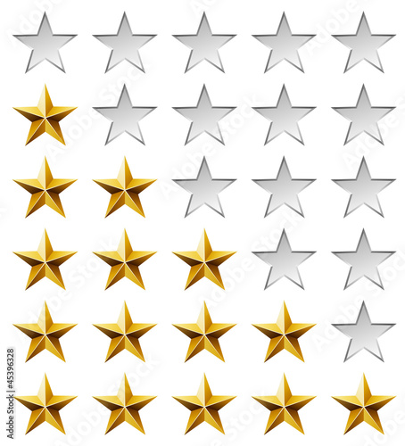 Golden stars rating template isolated on white