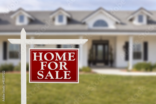 Home For Sale Real Estate Sign in Front of New House - 45397122