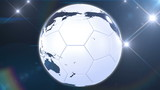 Soccer ball like Earth rotating in flashes. Looped animation.