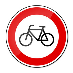Verbotsschild RAL 3001 signalrot - Fahrräder