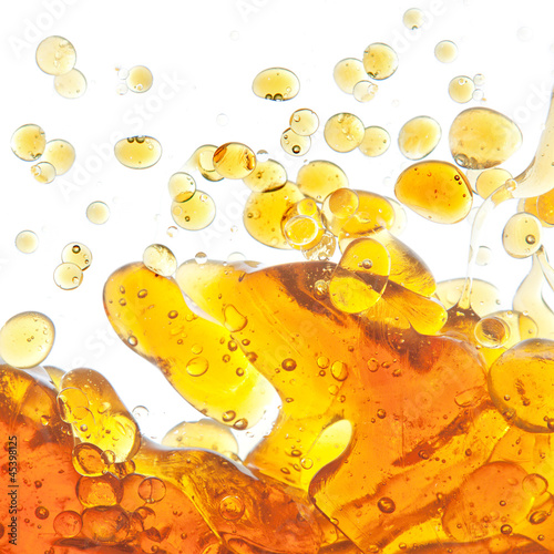 The texture of the bubbles of oil in an abstract form in the wat