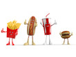 3d rendered illustration of a group of fast food
