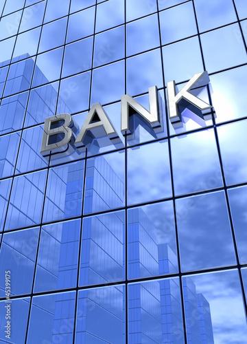 Bank Konzept Silber Blau 3 vertikal