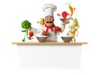 3d kitchen chef bothering with vegetables