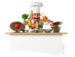 3d illustration of a kitchen chef bothering with vegetables