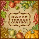 Fototapety Thanksgiving Retro Card