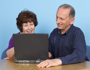 elderly couple with a computer