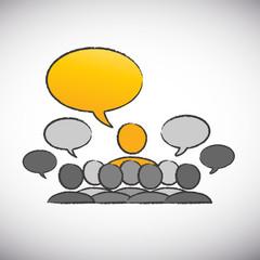 forum speaker with speech bubbles