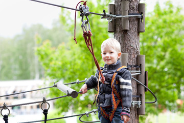 little boy at a canopy tour