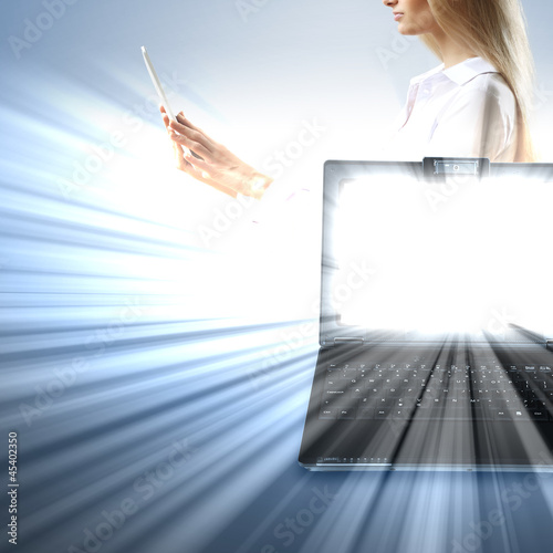 Image of notebook with shining screen