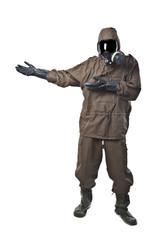 Man in Hazard Suit Showing or demonstrating