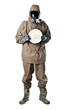 Man in Hazard Suit with a dirty dish