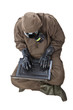 Man in Hazard Suit browsing the internet
