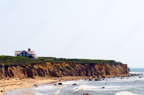 mansion beach house over cliffs beach Montauk Long Island New Yo