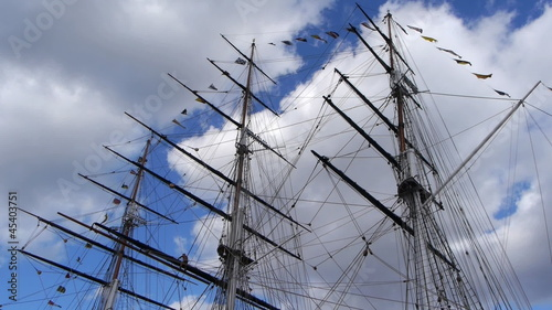 Masts and rigging of a sailing ship.