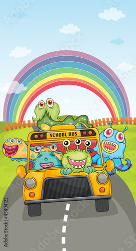 monsters, school bus and rainbow