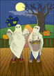 Illustration of children with candy bag at Halloween night