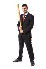 Businessman and baseball bat