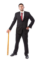 Businessman with baseball bat