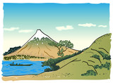Japanese landscape with mountain, vector illustration