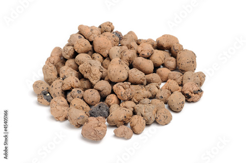 Expanded Clay Aggregate (Grow Rocks) on White Background