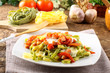Tagliatelle with tomato, mozzarella and bacon