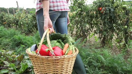 Woman holding basket with vegetables in garden