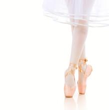 Ballerina Legs closeup. Ballet Shoes. Pointe.