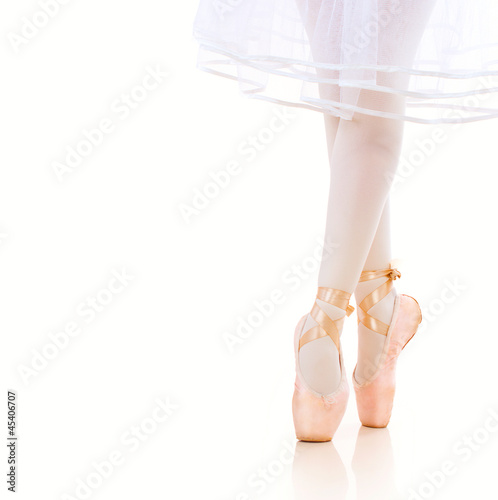 Ballerina Legs closeup. Ballet Shoes. Pointe.