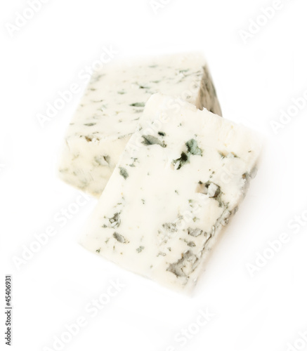 slices dor blue cheese isolated on white background