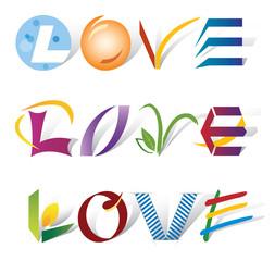 Love / Amour - 3 Designs avec Lettres et Icones Multiples