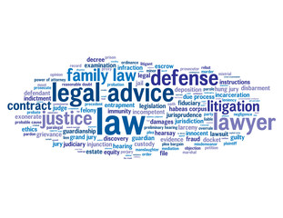 """LAW"" Tag Cloud  (scales of justice judge trial tribunal rights)"