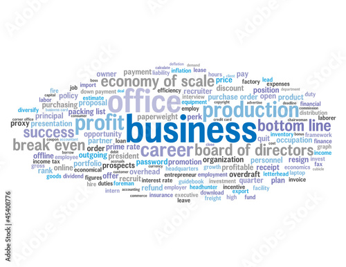 """BUSINESS"" Tag Cloud (commerce money banking finance contracts)"