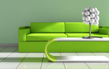 arquitectura interior.sofa y mesa en tonos verdes
