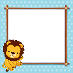 illustration of Lion with white blank