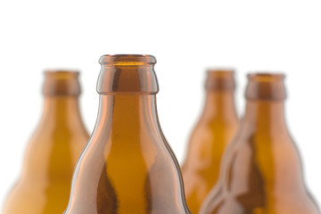Beer bottles isolated on a white background.