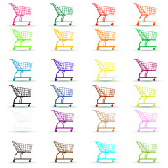 Different colored shopping cart icon on white.