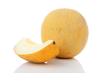Fresh yellow cantaloupe melon
