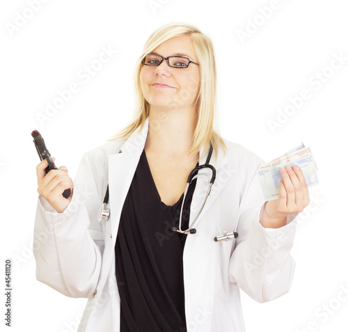 Medical doctor with a gun and money