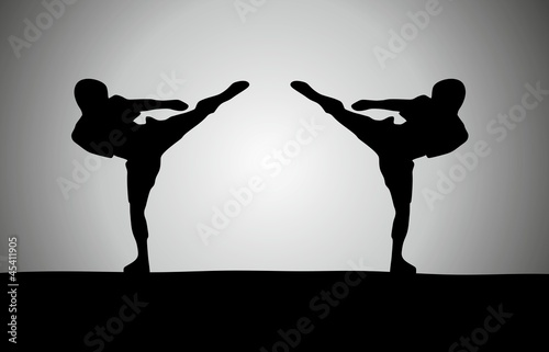 Silhouette of two fighters